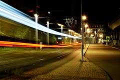 Dimensional Slipstream (Robin Shepperson) Tags: lights trams berlin germany deutschland longexposure le d3400 nikon night city transport lamps buildings pavement road cars vehicles dimensional slipstream trees cobbles stones grass weeds industry engineering scaffolding station