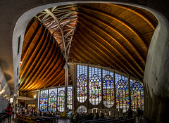 """fine art perspective view of the inside of the gorgeous L'église Sainte-Jeanne-d'Arc, (Church of Saint Joan of Arc), Rouen, Seine-Maritime, Normandie, France (grumpybaldprof) Tags: rouen seinemaritime normandie france seine """"seineriver"""" city veliocasses gauls rotomagus 912ad normandy """"joanofarc"""" neustria normans 1449ad french """"léglisesaintejeannedarc"""" """"churchofsaintjoanofarc"""" """"placeduvieuxmarché"""" """"oldmarketsquare"""" 1979ad 1431ad jeanned'arc"""" longship """"stainedglass"""" """"louisarretche"""" architect """"churchofsaintvincent"""" burned heresy canon 80d """"canon80d"""" sigma 1020 1020mm """"sigma1020mmf456dchsm"""" """"wideangle"""" ultrawide interior inside """"fineart"""" ethereal striking artistic interpretation impressionist stylistic style contrast shadow bright dark black white illuminated mood calm peaceful tranquil restful colour colours colourful building architectures indoors church eglise perspective"""