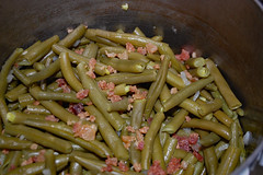 Pan Of Green Beans. (dccradio) Tags: lumberton nc northcarolina robesoncounty indoor indoors inside food eat meal supper dinner lunch comfortfood nikon d40 dslr june sunday summer summertime weekend sundayevening evening goodevening greenbeans beans bacon
