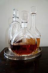 Orrefors Whisky, Cognac, Sherry decanters (Joe Lewit) Tags: variosonnart282470 orrefors whisky cognac sherry decanters silver salver stilllife