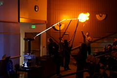 Tesla Coil, Fluorescent Tubes,  and a Hydrogen Balloon (r.todd.lines) Tags: aapt utah chapter physics tesla coil fluorescent lights balloon hydrogen science fun domonstration state university