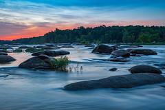 Blue Hour Hues (Somsubhra Chatterjee) Tags: richmond rva ponypasture rapids river jamesriver sunset rocks longexposure waterscape
