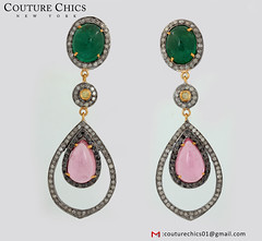 14k Yellow Gold Sterling Silver Emerald Pink Tourmaline Dangle Earrings Diamond (couturechics.facebook1) Tags: 14k yellow gold sterling silver emerald pink tourmaline dangle earrings diamond