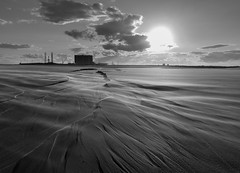 Windswept (harrytaylor6) Tags: blackandwhite bw black whitemonochromesandskycloudssunnuclearseal sands beach clouds wind desert sunset windswept hartlepool tees teesmouth estuary