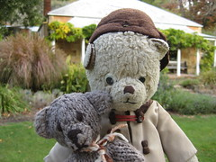 Paddington and Scout and the Cottage of St Erth (raaen99) Tags: bear cute vintage soft teddy paddy handmade scout plush softie teddybear cuddly paddington softtoy vintagetoy paddingtonbear paddybear vintageteddybear vintageteddy scoutbear autumn house playing game building tree green garden leaf hug knitting play cottage australia victoria cuddle knitted diggers grounds fairtrade gardenclub formalgarden blackwood gardeningclub knittedtoy houseandgardens sterth gardenofsterth scouthouse diggersclub diggersgardenclub littlebearhug biglittlebearhug fairtradebear sterthgardens sterthhouseandgardens simmondsreef diggersgardeningclub