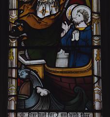 Meonstoke, Hampshire, St. Andrew's church, chancel, east window, detail (groenling) Tags: meonstoke hampshire hants england britain greatbritain gb uk standrewschurch chancel window glass stainedglass ship boat saint peter claytonbell jesus