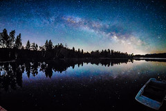 Mirrored Milky Way - and a Boat lies waiting.... (*Capture the Moment*) Tags: 2017 f28 fisheye kirchsee lakekirchsee milchstrasse milkyway reflection reflections reflexion sonya7m2 sonya7mii sonya7ii sonyilce7m2 walimexpro