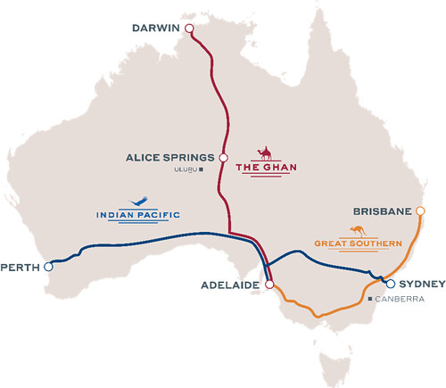Australia Luxury Trains Map