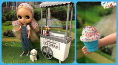 BaD Sprinkles July 1, 2019 (Foxy Belle) Tags: cityscape city park dog leash poodle white doll blythe food summer scene diorama barbie ice cream kid connection ooak repaint stand grass scrapbook paper 16 scale miniature sprinkles july 1 2019 bad day ashton drake blonde