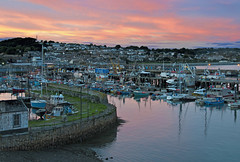 Newlyn Harbour at Dusk, West Penwith, Cornwall (saffron100_uk) Tags: newlyn cornwall westpenwith harbour boats sea water dusk sunset nikon d300 pictorial landscape sky clouds fishingboats newlynharbour evening tranquil pier oldpier fishmarket granite penzance