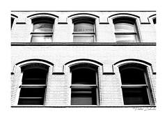 6 Windows (PeteZab) Tags: windows whitetiledbrick graphic highkey quadtone blackandwhite mono bw peterzabulis nottingham light white shadow