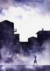CITY STORIES (knysh ksenya) Tags: art watercolor knyshksenya illustration abstract city clouds night girl draw digitalart digital traditional traditionalart surreal minimalism