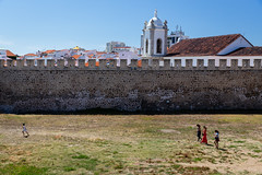 Vasco da Gama (dawolf-) Tags: travel portugal sines vascodagama castle fortress lawn grass child women mother wall church court outdoors people summer family canon nature