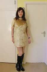 Gold Standard (Joanne (Hay Llamas!)) Tags: transgender transwoman tg brunette tgirl cute uk brit british britgirl club pvcboots gogoboots clubbing tshirt dress