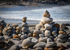 Cairns  on the Beach  No.1 (CDay DaytimeStudios w /1 Million views) Tags: ca pebblebeach water 17miledrive pacificcoasthighway bluesky california highway1 montereyca pacificgrove carmelca ocean pacificcoast beach sky seascape coastline landscape rocks montereybay