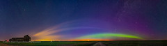 Panorama of Aurora and Solstice Twilight at the Old Barn (Amazing Sky Photography) Tags: alberta aurora barn capella cassiopeia flat june m31 northernlights summer twilight arc farm horizon lightpollution nightscape panorama perpetual photomerge prairie rural skyglow solstice stars
