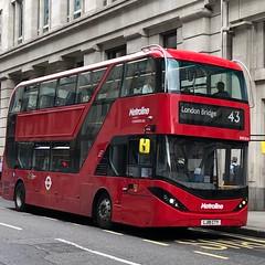 First day in service for the dual partnership take on the electric future. | Metroline London BYD/ADL Enviro 400EV City on the 43 to London Bridge. (alexpeak24) Tags: londonbridge friernbarnet 43 bde2614 lj19cty electric enviro400evcity alexanderdennis london metroline byd