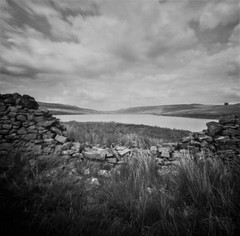 Scar House Reservoir (Richie Rue) Tags: landscape outdoors yorkshire water wall drystone cliuds sky summer mindfulphotography contemplativephotography blackandwhite monochrome bnw bw film analogue 6x6 mediumformat squareformat 120 rollfilm rolleirpx25 rodinal pinhole lensless ishootfilm istillshootfilm filmsnotdead fineart moors moorland northern