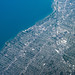 Cleveland, Ohio and Lake Erie - Aerial Photo from a Plane