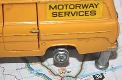 Tyre missing at Moffat. (Yesteryear-Automotive) Tags: macromondays wheels dinky dinkyfordtransit fordtransit modelvehicle modelvan autojumblefind