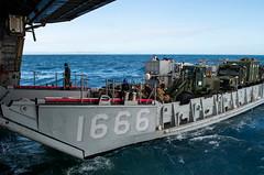 "Landing Craft, Utility (LCU) 1666 enters the well deck USS Green Bay (LPD 20) (#PACOM) Tags: ussgreenbay lpd20 usnavy usn sailor greenbaypackers amphibioustransportdockship sanantonioclass usmc usmarines marines 31stmeu 31stmarineexpeditionaryunit waspamphibiousreadygroup wasparg phibron11 amphibioussquadron11 landingcraftutility lcu1666 deckdepartment deck welldeck coralsea usindopacificcommand ""usindopacom"
