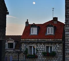 Ulica Svete Marije (free3yourmind) Tags: ulica svete marije house stone neighborhood local moon flowers open window