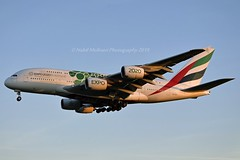 """Emirates Airline A6-EOJ Airbus A380-861 cn/182 Painted in """"Expo 2020 (Sustainability / Green)"""" special colours 03-2018 @ EGLL / LHR 14-05-2019 (Nabil Molinari Photography) Tags: emirates airline a6eoj airbus a380861 cn182 painted expo2020sustainabilitygreen special colours 032018 egll lhr 14052019"""