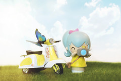 pixie loves scooters (rockinmonique) Tags: momiji pixie toy doll tiny scooter highkey miniature yellow blue green moniquewphotography canon canont6s tamron tamron45mm copyright2019moniquewphotography