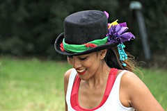 'Where did you get that hat, where did you get that hat?!' (Peter Denton) Tags: teddington west london england europe folkdanceremixed entertainment teddingtonvillagefair teddingtonsociety landmarkartscentre troupe ©peterdenton canoneos100d portrait lady woman girl dance dancer charity fundraising communityspirit hat ribbons candid smile people face thelensbury tw11magazines palmerssolicitors