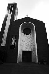 B&W - Looming Shrine (briangeerlings) Tags: bw monochrome blackandwhite city building salem oregon downtown church shrine stjosephs ricohgr sooc