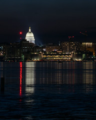 Capital Building in Madison WI (AChucksEyeView) Tags: capital madison wi wisconsin reflection lake monona night landscape white city