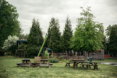 green & rain (almostsummersky) Tags: garden morning spring virginia travel ixartpark trees picnictable cloudcover green grass charlottesville structure yard
