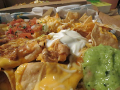 Taco Bell Supper. (dccradio) Tags: lumberton nc northcarolina robesoncounty indoor indoors food eat takeout mexicanfood fastfood guacamole sourcream beans refriedbeans cheese meltedcheese chicken canon powershot elph 520hs chips nachos grandenachos nachosbox monday july summer summertime mondayevening evening goodevening tacobell meal lunch supper dinner