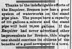 1892 10 - town water works standpipe - South Bend Tribune - 24 Oct 1892