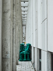 Barriers (leah.kling) Tags: wall flickr art architecture street photo photography lines green photos grey white color colour interesting building urban downtown montreal canada quebec light texture layer iconic digital fuji fujifilm camera moody pointandshoot angle frame line