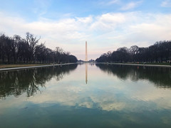 Lincoln Memorial Reflecting Pool & Washington Monument, Washington DC (Aqua and Coral Imagery) Tags: washingtondc washington memorial reflections pool reflectingpool lincolnmemorial washingtonmonument monument colors sunset sky clouds