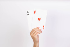 Hand holding two aces playing cards (wuestenigel) Tags: cards board aces whitebackground ace playingcards allin holding hands poker game hand bet man mann paper papier conceptual konzeptionelle woman frau isolated isoliert people menschen fun spas luck glück risk risiko chance achievement leistung young jung one ein option möglichkeit sign zeichen empty leeren love liebe business geschäft leisure freizeit2019 2020 2021 2022 2023 2024 2025 2026 2027 2028 2029 2030