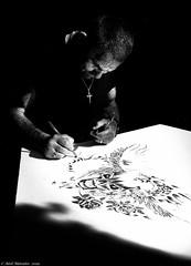 Street Artist (Neil. Moralee) Tags: neilmoralee man art artist painting drawing street candid dark bright shadow vancouver canada neil moralee nikon d7200 black white bw blackandwhite mono monochrome contrast high culture bandw gas town