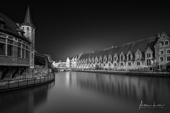 Medieval Ghent V (Alec Lux) Tags: bw bnw architecture art belgie belgium black blackandwhite building buildings canal city cityscape facade fine fineart gent ghent haida haidafilters longexposure skyline urban water white