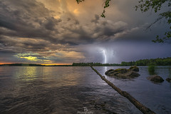 Lightning sunset (Taavi Salakka) Tags: storm water waterrelated waterscape thunder lighting lightning sunset landscape finland lake saimaa clouds reflection sony a7 canon 1740mm wideangle