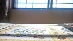 Sunlight (Somersaulting Giraffe) Tags: indoor light room bed bedsheets flower sun sunlight window bars lines wall shadows