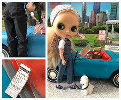 """BaD """"Ticket"""" July 2, 2019 (Foxy Belle) Tags: cityscape city park dog leash poodle white doll blythe summer scene diorama barbie ice cream kid connection overalls ashton drake blonde stock ooak repaint stand 16 scale miniature ticket car tammy ideal vintage gi joe police officer no parking july 2 2019 bad day"""