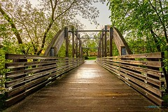 Wooden bridge after a rainfall (Saurav Pandey) Tags: instagram ifttt park architecture beautiful boardwalk bridge brown crossing evening footpath fresh green light nature nobody outdoor outdoors path puddle rain scenic season spring sunlight travel trees view walk walkway water wood wooden