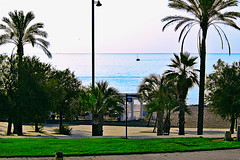 Badalona mornings (Fnikos) Tags: parc park parque parco nature plant tree palmtree sea mar mare seascape water shore seashore beach coast rock rocks sand sun sky skyscape cielo colour color colors colores blue blu blau azul green verde boat sailboat shadows outside outdoor
