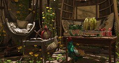 Eclectic Garden..... (kellytopaz) Tags: backbone dust bunny event sl second life home garden flowers anthem fameshed tlc pheasant color shadows zerkalo ayla japonica virtual living animals summer shade rustic retreat eclectic watermelon drink table pillows swing chair