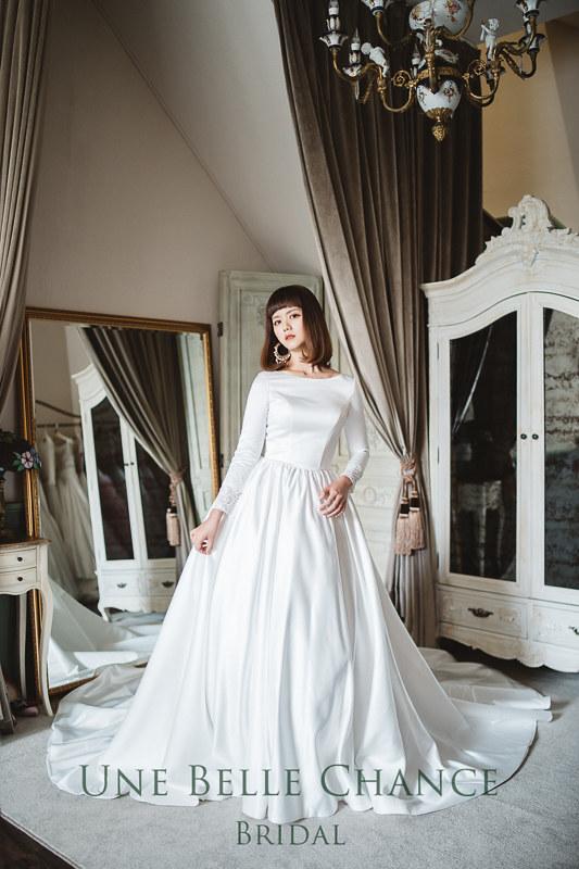 A-701韓系聖白緞面白紗