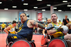 A Sailor participates in a wheelchair rugby match for Team Navy.