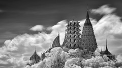 Wat Tham Suea (JamCanSing) Tags: temple thailand buddhism clouds infrared bangkok sonyalphaprofessionals blackandwhite bnw monochrome 720nm architecture tourism tourist buildings culture stupa