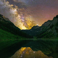 Talalpsee milky way panorama (lukas schlagenhauf) Tags: talpalpsee glarus glarusalps switzerland swiss schweiz suisse myswitzerland mountains alps night nightscape creativcommons summer europe canoneos6d canon milkyway milchstrasse stars astrophotography galacticcore panorama reflection lake water