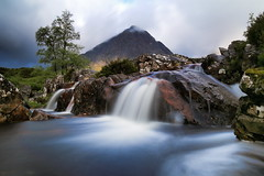 Buachaille Etive Mor (jeff.dugmore) Tags: scotland uk britain europe glencoe highlands westhighlands waterfall buachailleetivemor beuckle river stream rivercoupall stobdearg mountain mountainrange longexposure stormy scenery scenic landscape peak outside outdoor picturesque rural countryside nature mountainside moorland sunrise goldenhour tranquil serene atmospheric water tree dawn canon nisi naionalnaturereserve rocks white green clouds moody
